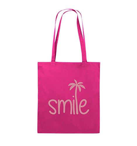 Comedy Bags - smile - PALME - Jutebeutel - lange Henkel - 38x42cm - Farbe: Schwarz / Pink Pink / Rosa