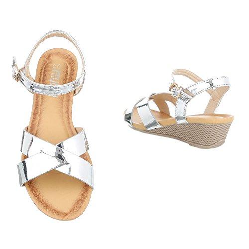 Keilsandaletten Damenschuhe Plateau Keilabsatz/ Wedge Keilabsatz Schnalle Ital-Design Sandalen / Sandaletten Silber