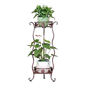 Yuda 2 Tier Metal Corrugated Garden Flower Patio Rack Stand Indoor Outdoor Plant Display 3 Colours UK Small (Brown)