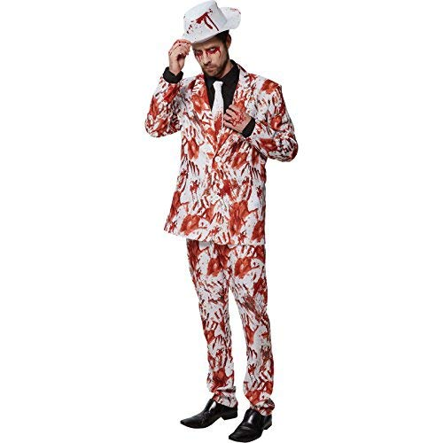 Weißer Anzug mit blutigen Handabdrücken - Halloween Kostüm Herren Rubie's