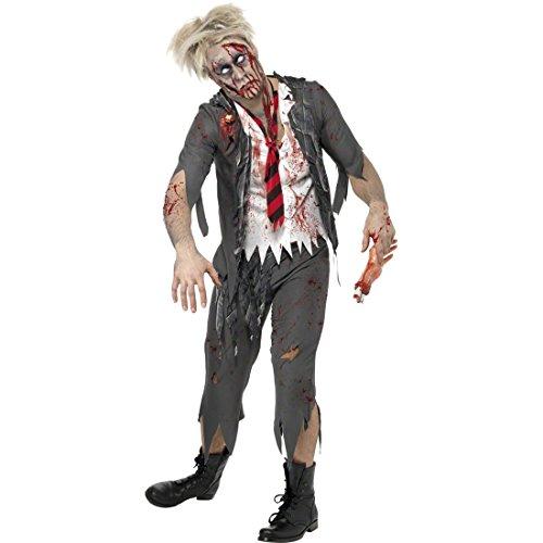 Schuljunge Zombie Kostüm - Zombie Kostüm Schuljunge grau-weiß L 52/54 Zombiekostüm Halloweenkostüm Herren Horror Verkleidung Gruselkostüm