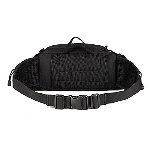 SUNVP Tactical Wasser Taille Pack Tasche mit 2 Wasser Flasche Halter Tasche Military Wasserdichte Fanny Pack Taschen Hip Bag für Outdoor Camping Wandern Trekking Jagd Black