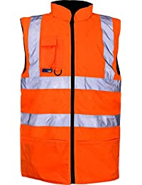 New Yoko Hi-Vis Reversible Fleece Vest Hi Vis Mens Workwear Gents Zip-Up Jacket