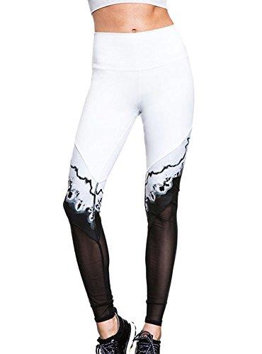 Minetom donne elastico magro pantaloni yoga sport palestra esercizio leggings pantalone sportivo allenarsi moda rendering in bianco e nero bianco eu l