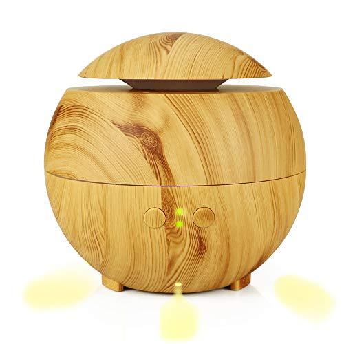 ZUEN Holzmaserung Luftbefeuchter, 600ml Schlafzimmer Luftbefeuchter, Farbe Nachtlicht Aromatherapie-Maschine, Ultraschall-Luftbefeuchter, Feuchtigkeitsspendende Haut,A