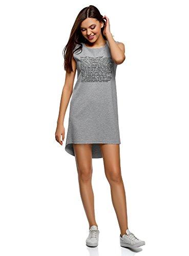 Oodji ultra donna abito sportivo con stampa e giromanica grezzo, grigio, it 46/eu 42/l