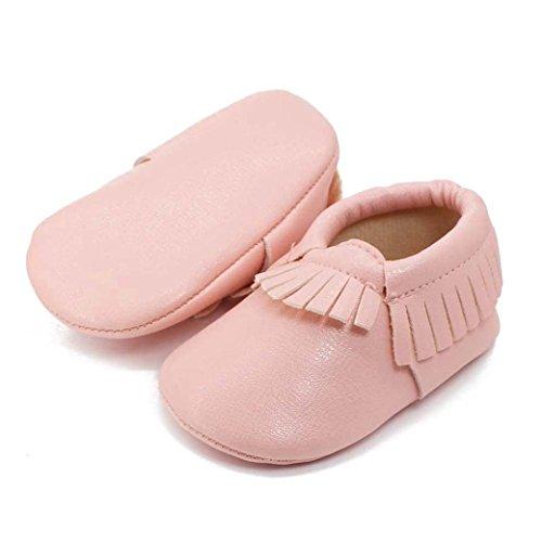 Hunpta Neue Baby jungen Mädchen Lauflernschuhe Baby Kinder Tassel weiche Sohle Leder Schuhe Baby Boy Girl kinderschuhe (13, Rosa) Rosa