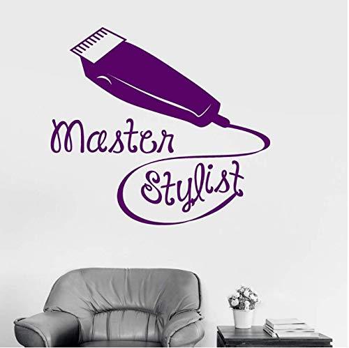 Vinyl Aufkleber Meister Stylist Friseur Friseur Friseur Wand Wand Paste Für Schaufenster Kunstwand.57X62Cm Lila - Zitate Wandtattoos Pferd