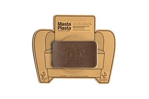 Tan MastaPlasta Self-Adhesive Leather Repair Patches. Choose size/design. First-aid for sofas, car seats, handbags, jackets etc (TAN CROWN 10cmx6cm) (Design Gepflegte Navy)