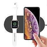 Wokee 2 in 1 Wireless Ladestation, 10W Schnelllade Wireless Ladegerät Pad Für iPhone XS / XS Max / XR Für iWatch Serie 4,Ladegerät Induktiv Kablellos 150 x 61 x 11 mm / 5.91 x 2.40 x 0.43''