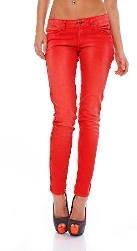 M.O.D - Jeans pour femmes JEANS STRETCH JEAN D'Eté NINI Maigre neon-red-orange