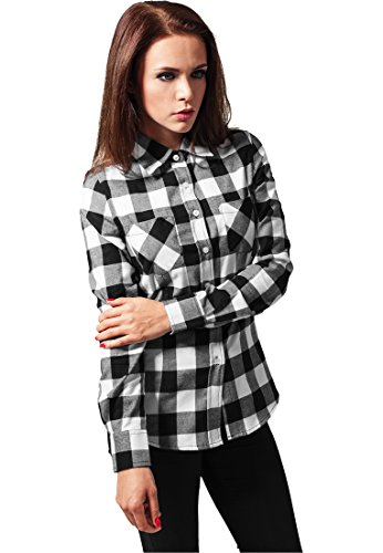 Ladies Checked Flanell Shirt blk/wht S (Sport Classic Shirt Plaid Fit)