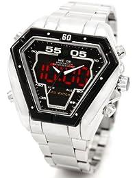 Alienwork DualTime Reloj Digital- Analógico Multi-función LED Acero inoxidable negro plata OS.WH-1102-2-R1