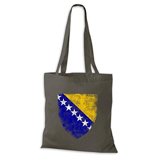 Shirtastic Baumwolltasche Jutebeutel Bosna i Herzegovina Bosnien Balkan Bih DTG Grau
