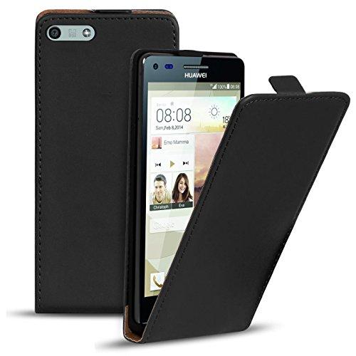 Conie Flip Hülle kompatibel mit Huawei Ascend P7 Mini, PU Ledertasche in Schwarz klappbare Handyhülle innen weich gefüttert