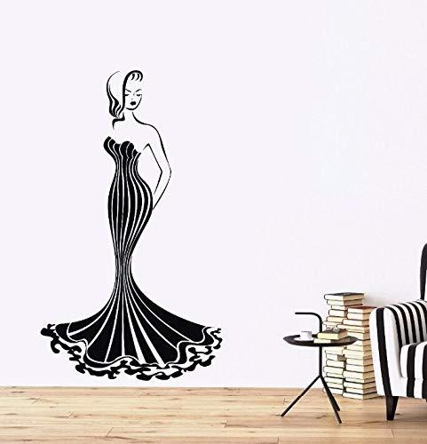 zqyjhkou Wandaufkleber Vinyl Hot Girl Aufkleber Wandaufkleber Dekoration Wunderschöne Dame Kleid Tapete Abbildung Wandbild Ay346 57x97 cm