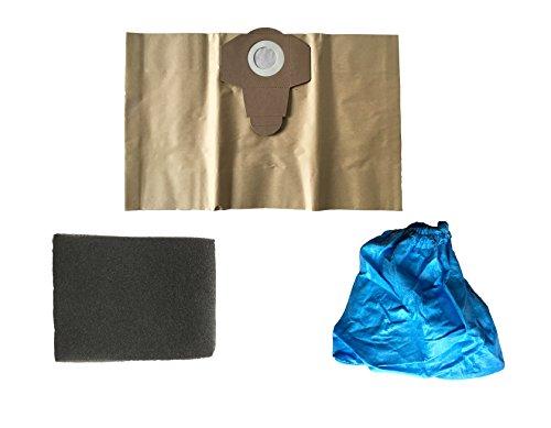 3 teiliges Filter Set passend für EINHELL Nass Trockensauger, 1x 20 Liter Staubsaugerbeutel braun, 1x Nassfilter, 1x Trockenfilter