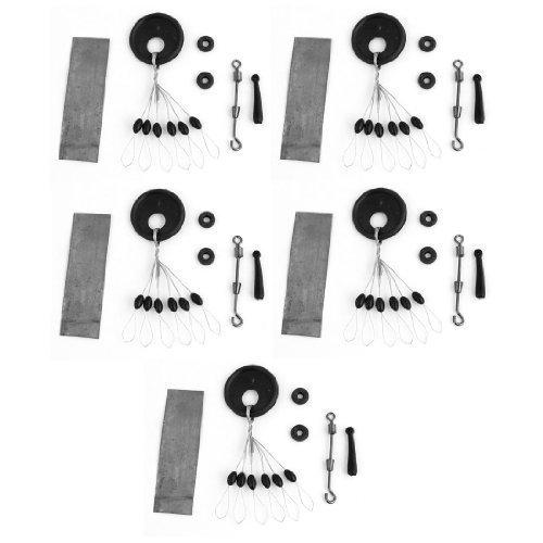 5 Floater-Angelschnur und Haken-Stecker-Set, Schwarz/silberfarben