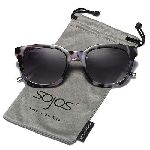 SOJOS Gafas De Sol Unisex Hombre Mujer Clásico Cuadrado Polarizado SJ2050 Con Marco Negro Carey/Lente Gris Polarizado