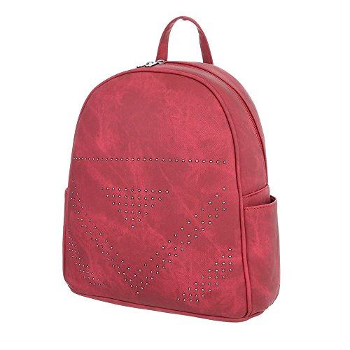 iTal-dEsiGn Damentasche Kleine Rucksack Freizeittasche In Used Optik Kunstleder TA-M1093 Rot