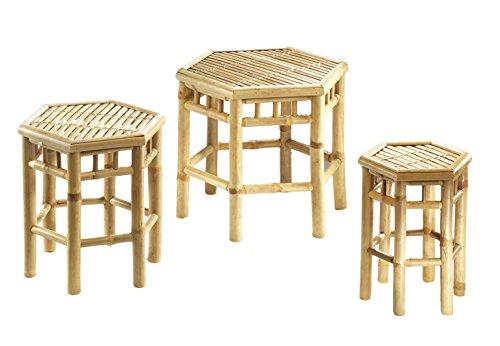 Kobolo Blumenhocker 6-eckig aus Bambus im 3er-Set