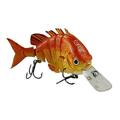 "Rose Kuli 3.8"" 6 Jointed Life-like Swimbait Hard Fishing Lure Bass Bait-orange from Rose Kuli"