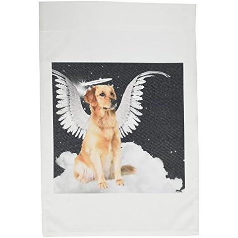 3dRose FL _ 62894_ 1Golden Retriever cane di Angelo seduto su una nuvola con un angelo con aureola e ali giardino Bandiera, 12da 18pollici