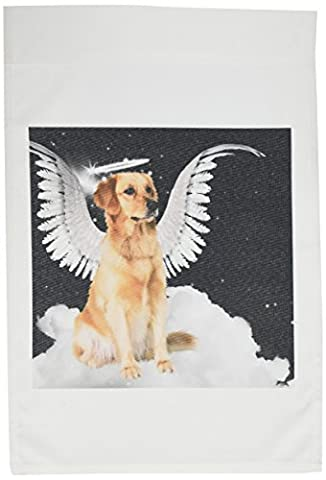 3dRose fl_62894_1 Golden Retriever Angel Dog Sitting on a Cloud with a Cute Halo and Angel Wings Garden Flag, 12 by 18Inch