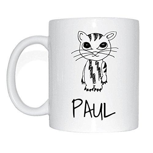 JOllipets PAUL Namen Geschenk Kaffeetasse Tasse Becher Mug PM5840 - Farbe: weiss - Design: Katze