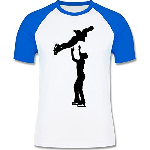Wintersport - Eiskunstlauf Paarlaufen Eiskunstläufer - zweifarbiges Baseballshirt für Männer Weiß/Royalblau