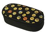 Ferocity Trousse Scolaire Oval Sac à Crayon Trousse en Cuir Plumier Organisateur Noir pour Une Fille Petit ami Emoji Noir [086]