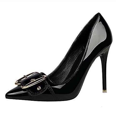OALEEN Escarpins Vernis Bout Pointu Grande Boucle Chaussures Talon Haut Aiguille Soirée Femme Noir 35