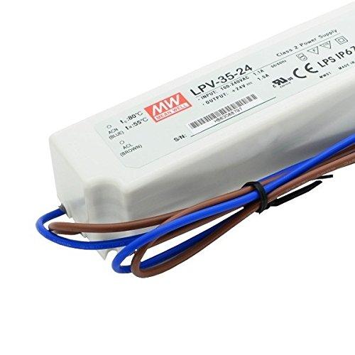 kingled – Alimentation Mean Well imperméable 35 W 24 V, courant constant, modèle LPV-35 – 24, IP67, transformateur pour AC 220 V à DC 24 V, compatible avec Strip LED, Cod. 1569 …