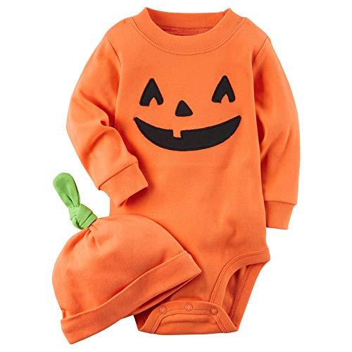 LHHJ Jungen Mädchen Baumwolle Halloween Kürbis Ausdruck Overall Orange 80