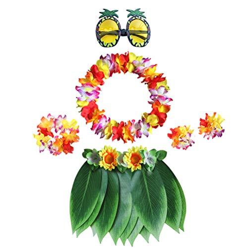 Ananas Kostüm Stirnband - Amosfun 7 Teile/Satz Hawaiian Leaf Rock Set Luau Leis Stirnband Armband Tropische Ananas Sonnenbrille für Party (Erwachsene)