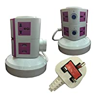 3-meter-wire Universal Vertical Extension Socket with 2 USB Ports 2 Layers pink