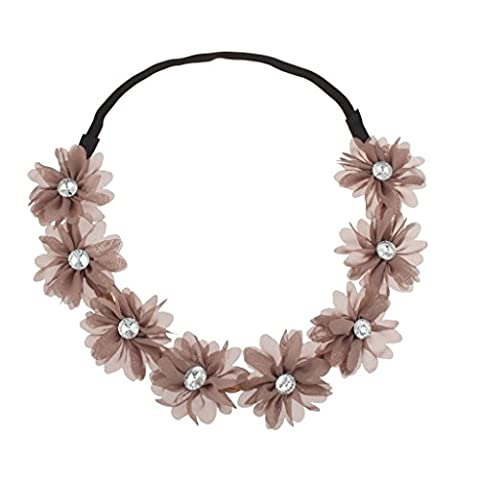 Lux Accessories Stretch Fit Floral Headband Head Crown Flower Crown Head Piece Taupe Neutral