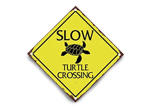 Wendana Warnschild aus Aluminium mit Aufschrift Caution Slow Turtle Crossing, 30,5 x 30,5 cm