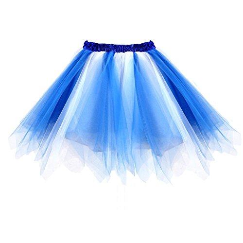 GirstunmBrand Damen 50er Vintage Tüllrock Petticoat Mehrfarbig Bubble Tanzkleid Rock Blau-Weiß-S/M
