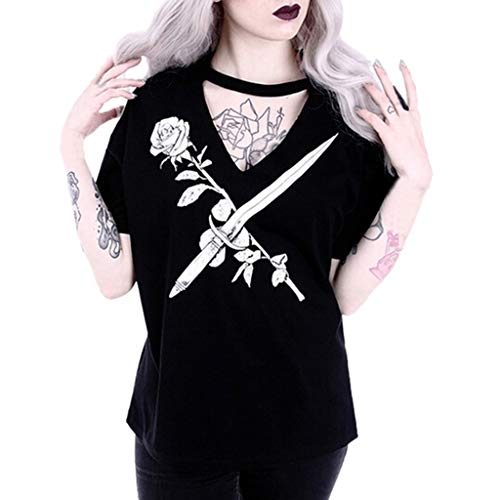 Mitlfuny Retro Rock Street Gothic Black Style Halloween Umhang Kostüme Vampir Kostüm Dracula, Damenmode Gothic Style Punk Girl Print Kurzarm V-Ausschnitt Tops T-Shirts