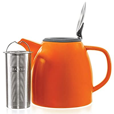 Tealyra - Drago - Théière en Céramique - 1100ml (5-6 tasse) - Ceramic Teapot - Large Stylish High-Fired Ceramic Teapot with Stainless Steel Lid and Extra-Fine Infuser To Brew Loose Leaf Tea