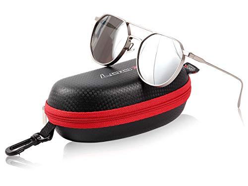 Loox Sonnenbrille Pilotenbrille - 'Dubai' Aluminium Rahmen Verspiegelt Matt Silber Herren Damen - Hochwertiger Uv-Schutz