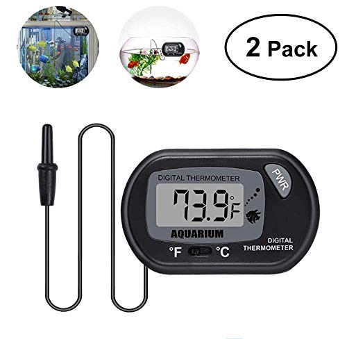 ZUEN 2 Stück Aquarium Thermometer Digital, LCD Aquarium Aquarium Meerwasser Thermometer Temperatur Schwarz