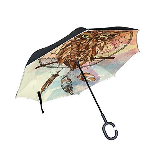 Eslifey - Paraguas Plegable de Doble Capa, diseño de búho
