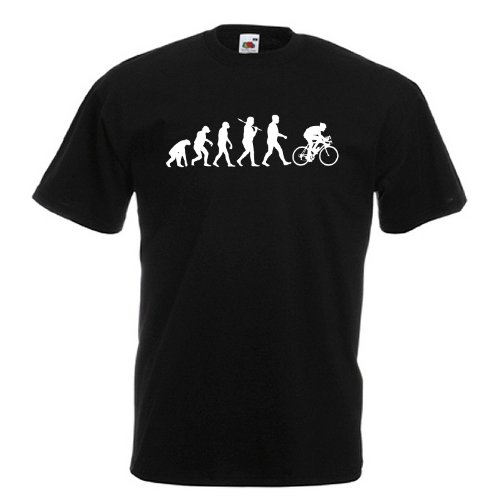 Evolution of Cycling Standard Black T-Shirt with White Print