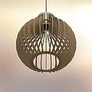 Lampadario rustico moderno in legno Paralume - Design bulbo - Dimens. extra