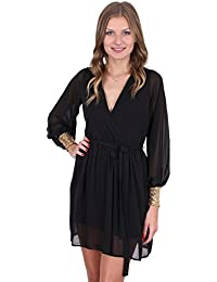 John Zack ASOS Womens Sequin Cuff Long Sleeve Dress Black