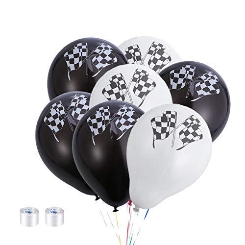 TOYANDONA 50 stücke Latex Luftballons Nette runde Racing Flagge Luftballons Helium Luftballons für Baby Shower Kids Birthday Party Supplies dekor gefälligkeiten