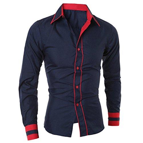 Camiseta Hombres,Xinan Blusa Ropa Hombre de Manga Larga Camisetas (M, Azul)