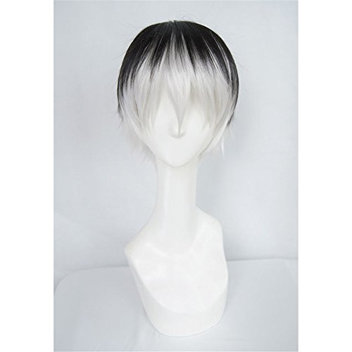LanTing Cosplay Perücke Tokyo Ghoul Sasaki Haise black mix white Perücke Corta Cosplay Party Fashion Anime Human Costume Full wigs Synthetic Haar Heat Resistant Fiber (Little Mix Halloween Kostüme)